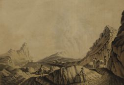 Inside the Crater of Stromboli, print, published by Powyer of Pall Mall, framed and glazed.