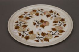An Indian marble, stone and shell inlay circular dish. 33 cm diameter.