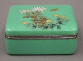 A Japanese enamel box. 10.5 cm wide.
