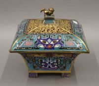 A large Chinese cloisonne censer. 21 cm high.