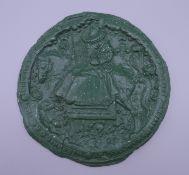 A copy of an Elizabeth I wax seal. 14.5 cm diameter.