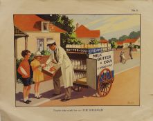 A vintage educational poster People Who Work for Us-The Milkman and two French educational posters