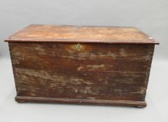 A large 19th century mahogany trunk. 126 cm wide.