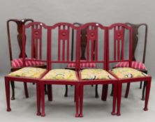 A set of four Victorian red painted chairs and three Queen Anne style chairs.