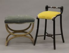 A Victorian music stool and a gilt x-frame stool. The former 30 cm wide.