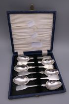 Six Fiddle pattern teaspoons by various 19th century London makers. 91.9 grammes.