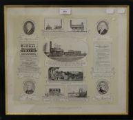 The World's First Public Railway Opened 1825, Darlington, England, print,