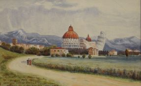 JONATHAN FITZGERALD, View of Pisa with Leaning Tower, watercolour, signed and dated 1907,
