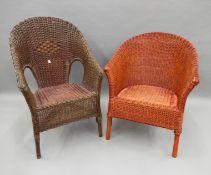 Two Lloyd Loom type chairs.