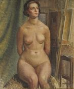 Still Life of a Seated Nude, oil on canvas, unsigned, framed. 49 x 60 cm.