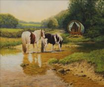 FRANK WRIGHT (1928-2016), Gypsy Wagon and Horses, oil on canvas, signed, framed. 60.5 x 50.5 cm.
