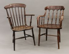 A Victorian elm seated stick back armchair and another.