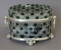 A green cut glass and silver plated casket. 26 cm wide.