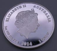 A 2014 999 silver 1 ounce Australian coin.