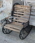 A cast iron rocking chair