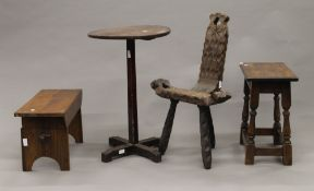 A 19th century oak side table, two stools and a chair.