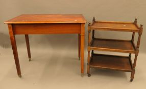 An early 20th century oak tea trolley and a modern side table. The former 59 cm long.