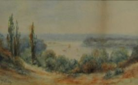 J LACEY (19th century), Lake Scene, watercolour, signed, framed and glazed. 22 x 13.5 cm.