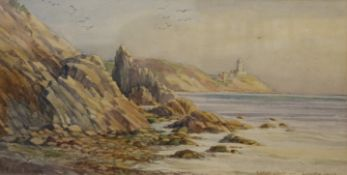F HASE HAYDEN, Bailey Light, Howth Head, watercolour, signed, framed and glazed. 42 x 21.5 cm.