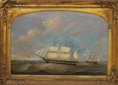 19TH CENTURY BRITISH SCHOOL, Ships in Choppy Sea off a Lighthouse Point, oil on canvas,