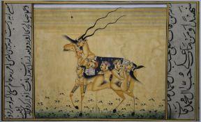 An unusual antique Persian erotic miniature. 16.5 x 10 cm.