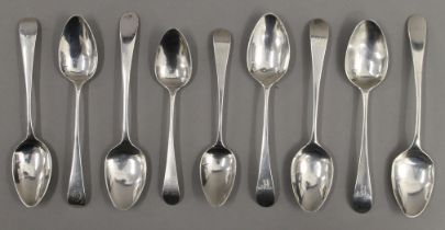 Nine Old English pattern teaspoons by Peter and William Bateman of London (1805-1812). 128.