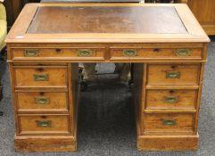 A Victorian pedestal partners desk. 109 cm wide.