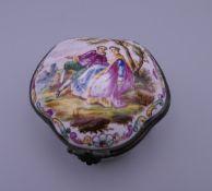 A French enamel patch box. 6 cm wide.