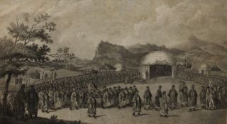 After WILLIAM ALEXANDER, Chinese Emperor's Procession, print, framed and glazed. 45 x 25 cm.