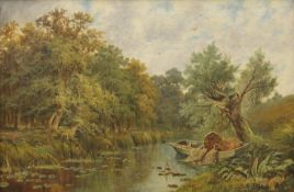 SIDNEY YATES JOHNSON, The Eel Catchers Boat, oil on canvas, signed and dated 1893, framed. 75 x 49.