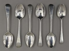 Six early 19th century Old English pattern teaspoons by William Bateman of London. 95.7 grammes.