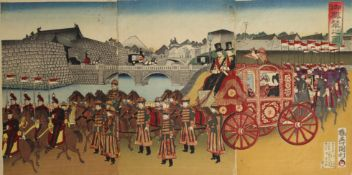 Five Japanese wood block prints; three forming a Regal Procession,