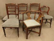 A 19th century carved walnut corner chair,