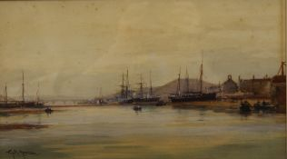 G H GRIFFITHS, River Scene with Shipping at Low Tide, watercolour, signed, framed and glazed.