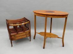 A mahogany Canterbury and a side table. The former 45 cm wide.