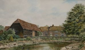 BRIAN FENSOME, Bigstrup Farm, Dinton, Buckinghamshire, watercolour, signed, framed and glazed.