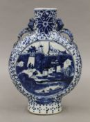 A 19th century Chinese blue and white porcelain moon flask. 21 cm high.