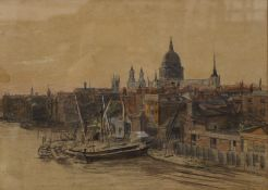 Circle of W L WYLLIE, Thames Scene with St Paul's Cathedral Beyond, watercolour, unsigned,