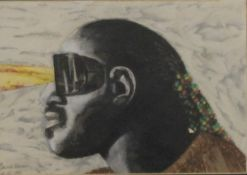 Blind Vision, watercolour, indistinctly signed and dated 1986, framed and glazed,