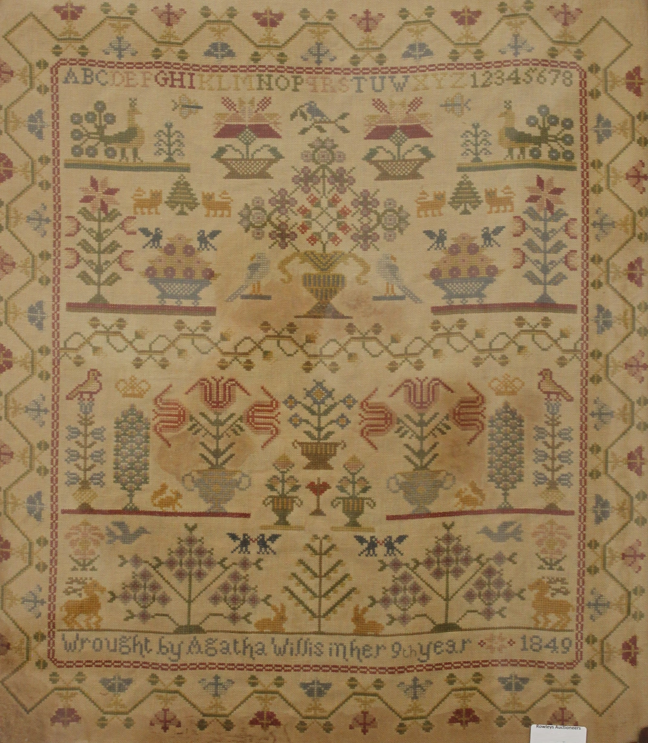 A Victorian sampler worked by Agatha Willis, Aged 9, dated 1849, framed and glazed. - Image 2 of 2