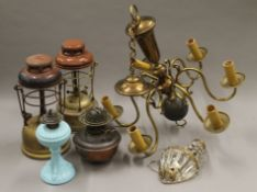 A quantity of various vintage lighting