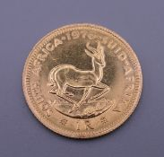 A gold South African 1 rand coin, dated 1976. 4 grammes.
