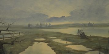 MICHAEL JOHN BROWN, The Somme, oil on board, signed and dated 1969, framed. 80 x 40 cm.