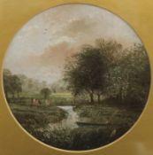 Fisherman on a River, oil on panel, bearing monogram, framed and glazed. 17 cm diameter.