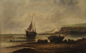 E NEVIL (19th century) British, Fishing Boats on the Shore, a pair, oil on canvas, each framed.