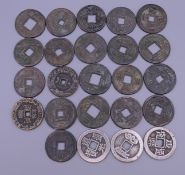 A bag of Chinese coins. (24) Mostly approximately 3.25 cm diameter.