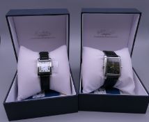 A pair of Rotary his and hers reversible wristwatches, with box and papers.