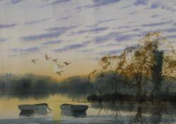 DOUGLAS HADDOW (20th century) British, Ducks in Flight, watercolour, signed, framed and glazed. 56.