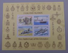 A Falkland Island stamp group, 14th June 1982 - 14th June 1983 Anniversary of the Liberation.