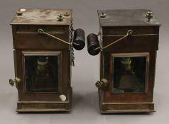 Two Victorian copper ships lanterns. Each 35 cm high.